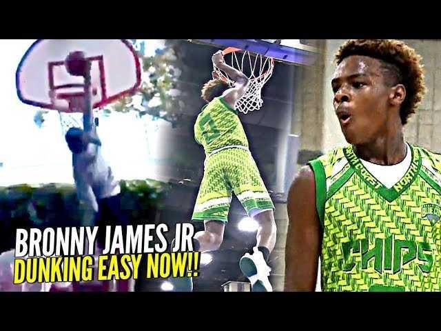 Bronny James Jr DUNKING EASY NOW! 1st Dunk at Crossroads! + FULL 7th Grade Highlights!