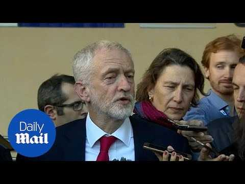 Jeremy Corbyn emerges from his Brexit talks with Michel Barnier