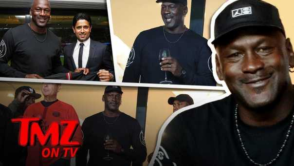 Michael Jordan Crushin' Fancy Wine at PSG Soccer Game | TMZ TV
