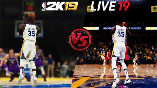 Which Game Can Kevin Durant Hit A Half-Court Shot First?? | NBA 2K19 vs NBA LIVE 19 Challenge