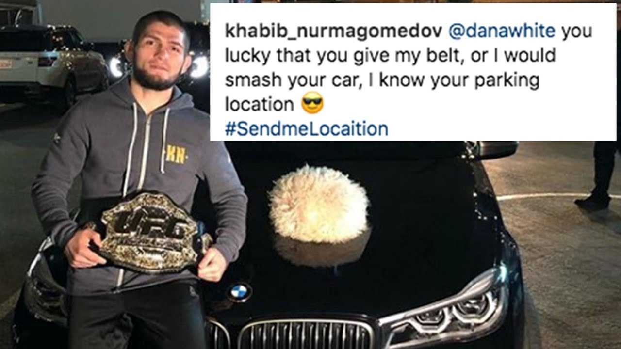 Khabib Nurmagomedov Threatens to SMASH Dana White's Car After Getting His UFC Title Belt!