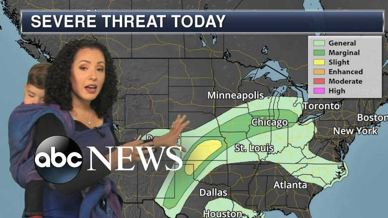 Meteorologist wears her toddler while reporting weather forecast
