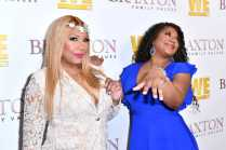 """WEST HOLLYWOOD, CALIFORNIA - APRIL 02: (L-R) Trina Braxton and Traci Braxton are seen as We TV celebrates the premiere of """"Braxton Family Values"""" at Doheny Room on April 02, 2019 in West Hollywood, California. (Photo by Earl Gibson III/Getty Images for WE tv )"""