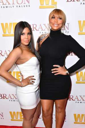 """WEST HOLLYWOOD, CALIFORNIA - APRIL 02: (L-R) Toni Braxton and Tamar Braxton are seen as We TV celebrates the premiere of """"Braxton Family Values"""" at Doheny Room on April 02, 2019 in West Hollywood, California. (Photo by Earl Gibson III/Getty Images for WE tv )"""