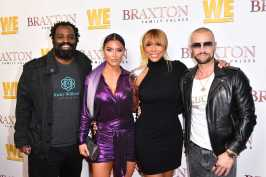 """WEST HOLLYWOOD, CALIFORNIA - APRIL 02: (L-R) Ricky Williams, Natalie Eva Marie, Tamar Braxton, and Joey Lawrence are seen as We TV celebrates the premiere of """"Braxton Family Values"""" at Doheny Room on April 02, 2019 in West Hollywood, California. (Photo by Earl Gibson III/Getty Images for WE tv )"""