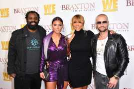 "WEST HOLLYWOOD, CALIFORNIA - APRIL 02: (L-R) Ricky Williams, Natalie Eva Marie, Tamar Braxton, and Joey Lawrence are seen as We TV celebrates the premiere of ""Braxton Family Values"" at Doheny Room on April 02, 2019 in West Hollywood, California. (Photo by Earl Gibson III/Getty Images for WE tv )"