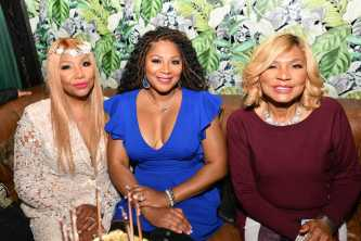 """WEST HOLLYWOOD, CALIFORNIA - APRIL 02: (L-R) Traci Braxton, Trina Braxton, and Evelyn Braxton are seen as We TV celebrates the premiere of """"Braxton Family Values"""" at Doheny Room on April 02, 2019 in West Hollywood, California. (Photo by Earl Gibson III/Getty Images for WE tv )"""