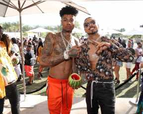 COACHELLA, CALIFORNIA - APRIL 14: Blueface (L) and Quincy attend Republic Records Celebrates Their Class Of 2019 In Coachella Valley at Zenyara on April 14, 2019 in Coachella, California. (Photo by Randy Shropshire/Getty Images for Republic Records)