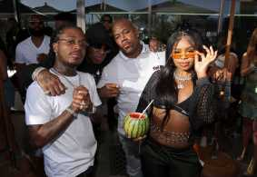 COACHELLA, CALIFORNIA - APRIL 14: (L-R) Jacquees, Birdman, Wack 100 and guest attend Republic Records Celebrates Their Class Of 2019 In Coachella Valley at Zenyara on April 14, 2019 in Coachella, California. (Photo by Randy Shropshire/Getty Images for Republic Records)