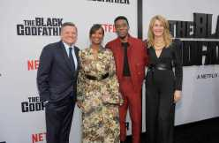 """LOS ANGELES, CALIFORNIA - JUNE 03: Netflix Chief Content Officer Ted Sarandos, Nicole Avant, Chadwick Boseman and Laura Dern attend Netflix world premiere of """"THE BLACK GODFATHER at the Paramount Theater on June 03, 2019 in Los Angeles, California. (Photo by Charley Gallay/Getty Images for Netflix)"""