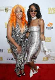 """ReeMarkable and Buku Abi on the red carpet at WE tv's """"Power, Influence & Hip Hop: The Remarkable Rise Of So So Def"""" and Season 3 of """"Growing Up Hip Hop Atlanta"""" celebration at The London West Hollywood on July 16, 2019 in West Hollywood, California."""