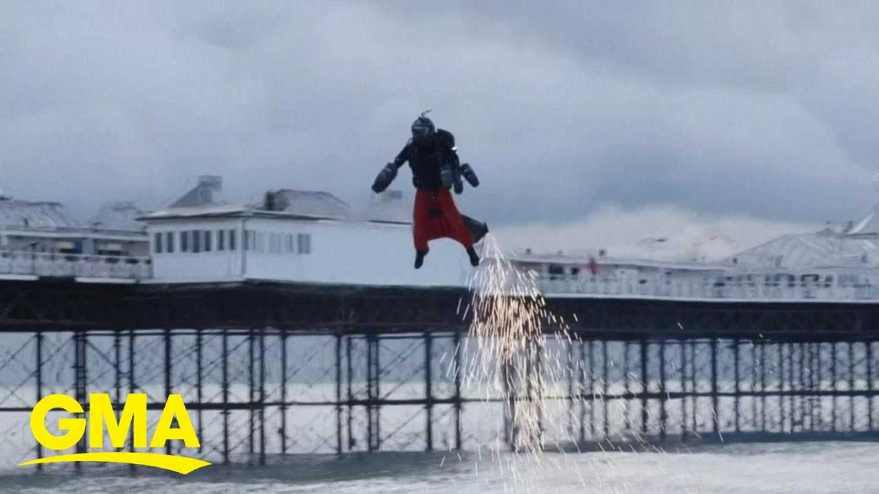 British inventor breaks his own record for fastest flight in a jet suit   GMA