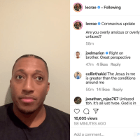 Lecrae IG Post on Coronavirus