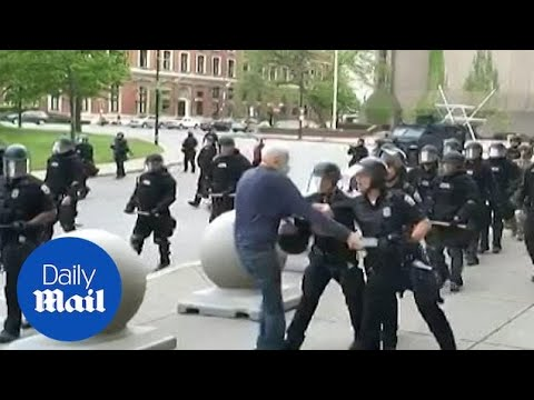 Graphic: Shocking moment cops shove elderly man to the ground in Buffalo