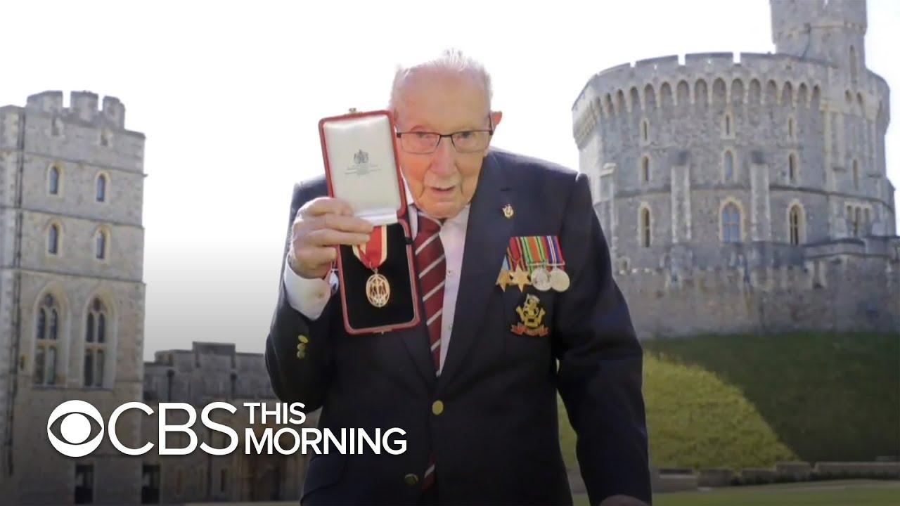 Captain Tom Moore knighted by Queen Elizabeth II in rare public ceremony