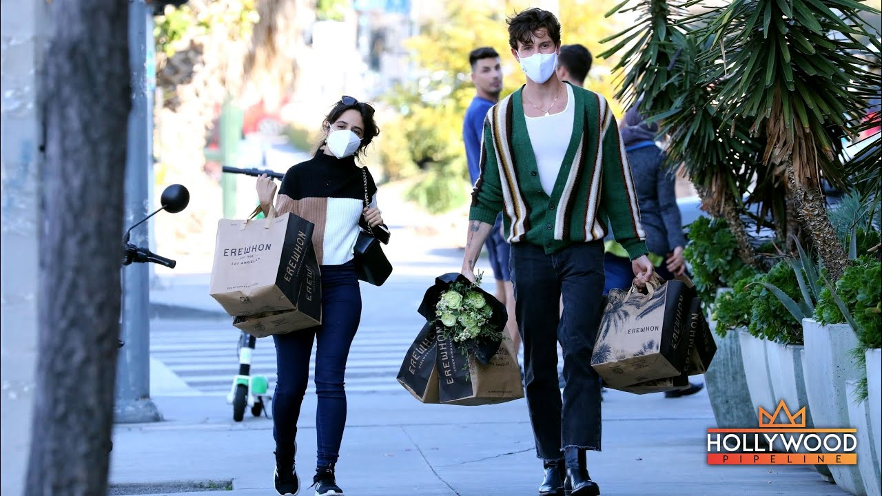 """Shawn Mendes and Camila Cabello shop at """"Erewhon Market"""" in Los Angeles"""
