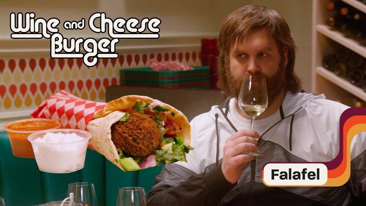 Harley & Lara Pair Falafel Sandwich with White Wine   Wine and Cheeseburger
