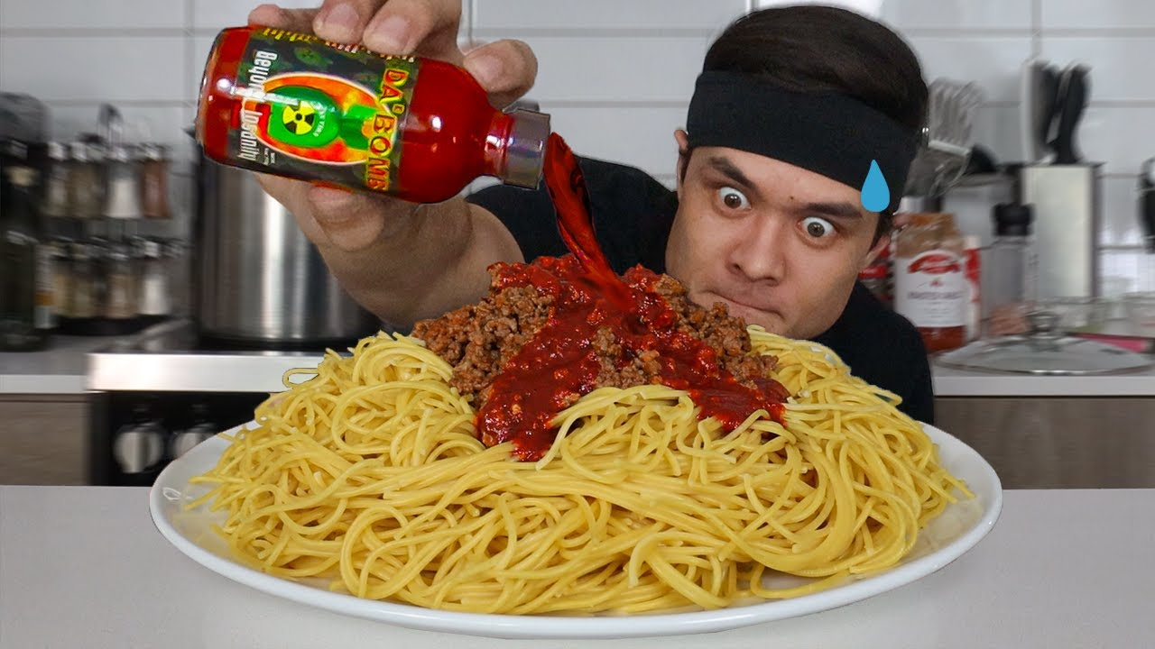 The Spiciest Spaghetti EVER...(ft. Whole bottle of 'Da Bomb')