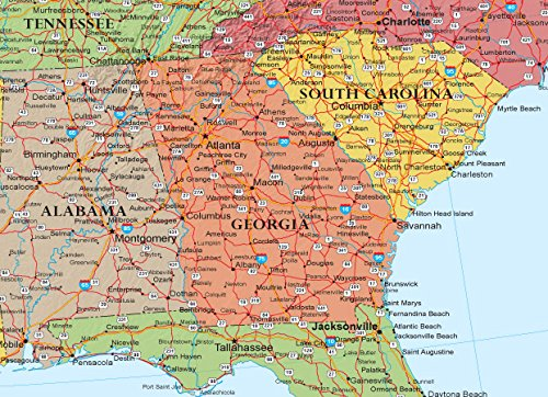 Framed Us Wall Map