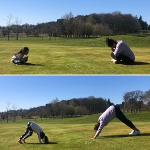 Vivi and Kav doing yoga in the park