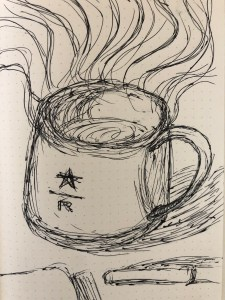 Drawing of a coffee cup and pen