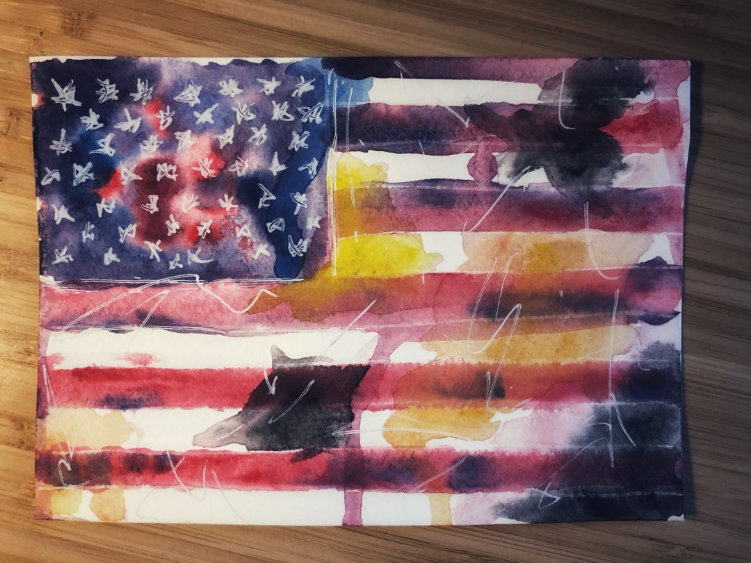 Watercolor painting of the USA flag