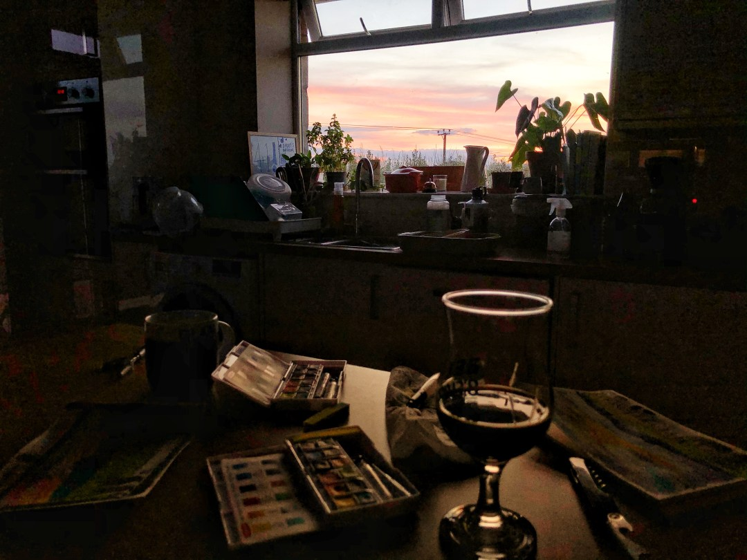 Picture of the kitchen at dusk with painting kit