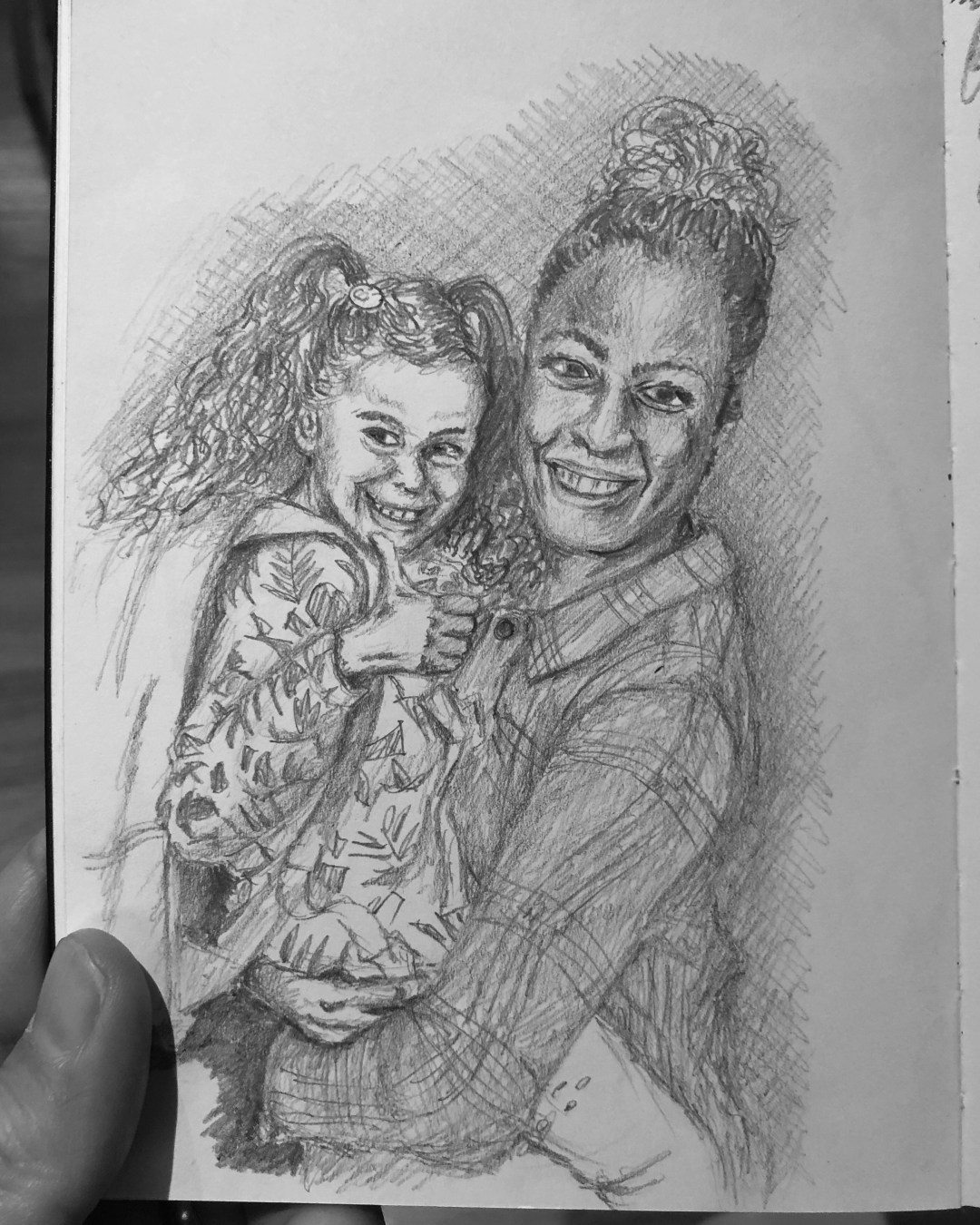 Picture of drawing of wife and daughter