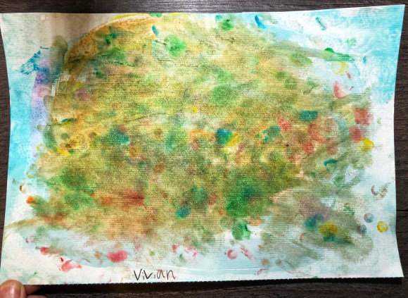 Abstract impressionist-style painting with yellows and green and blue. Looks like a field of flowers as a cloud in the sky.