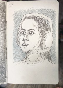 Vivian with a headset on looking surprised. Illustration.