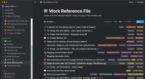 View of Work Reference File list in Notion.