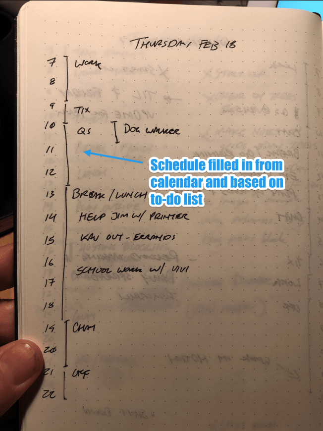 Daily entry in notebook showing the schedule on the left side of the page.