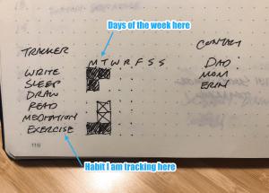 Weekly habit tracker template in my notebook.