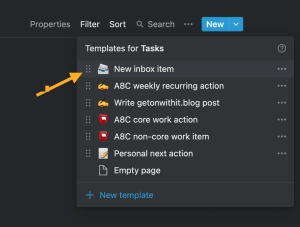 Screenshot of inbox template for new task in Notion.