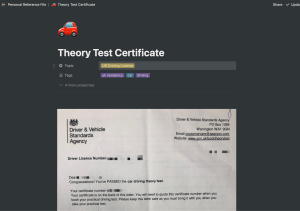 Screenshot of personal reference note in Notion.