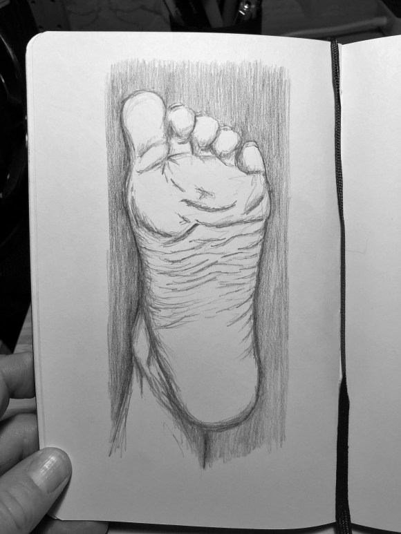 Drawing of the bottom of a foot stretched upwards.