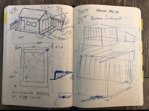 Sketch of shed in my notebook.