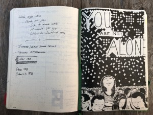 Pen drawing and notes in my notebook.