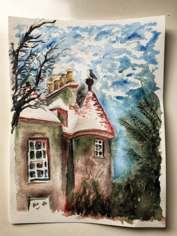 Watercolor painting of a castle with snow near our house in Scotland.