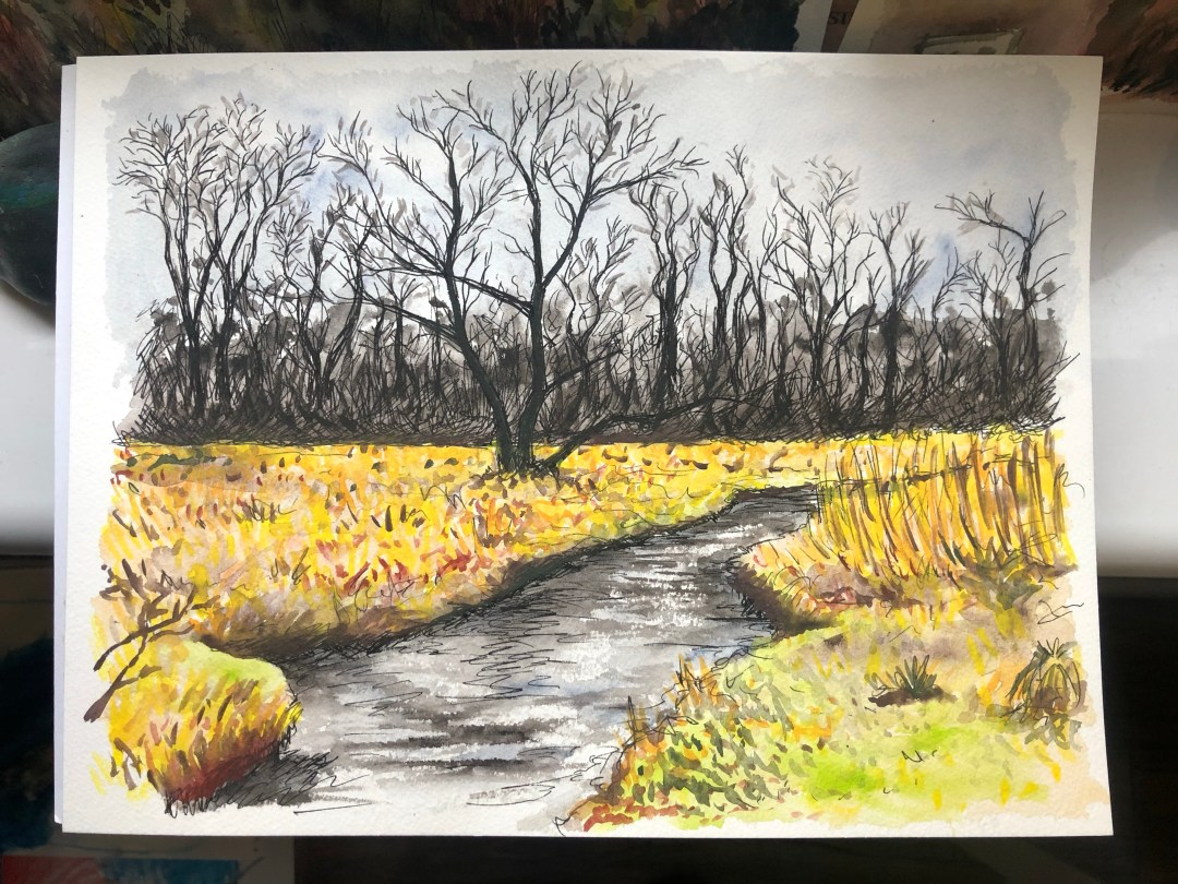 Watercolor painting of a river with dark trees in the background.