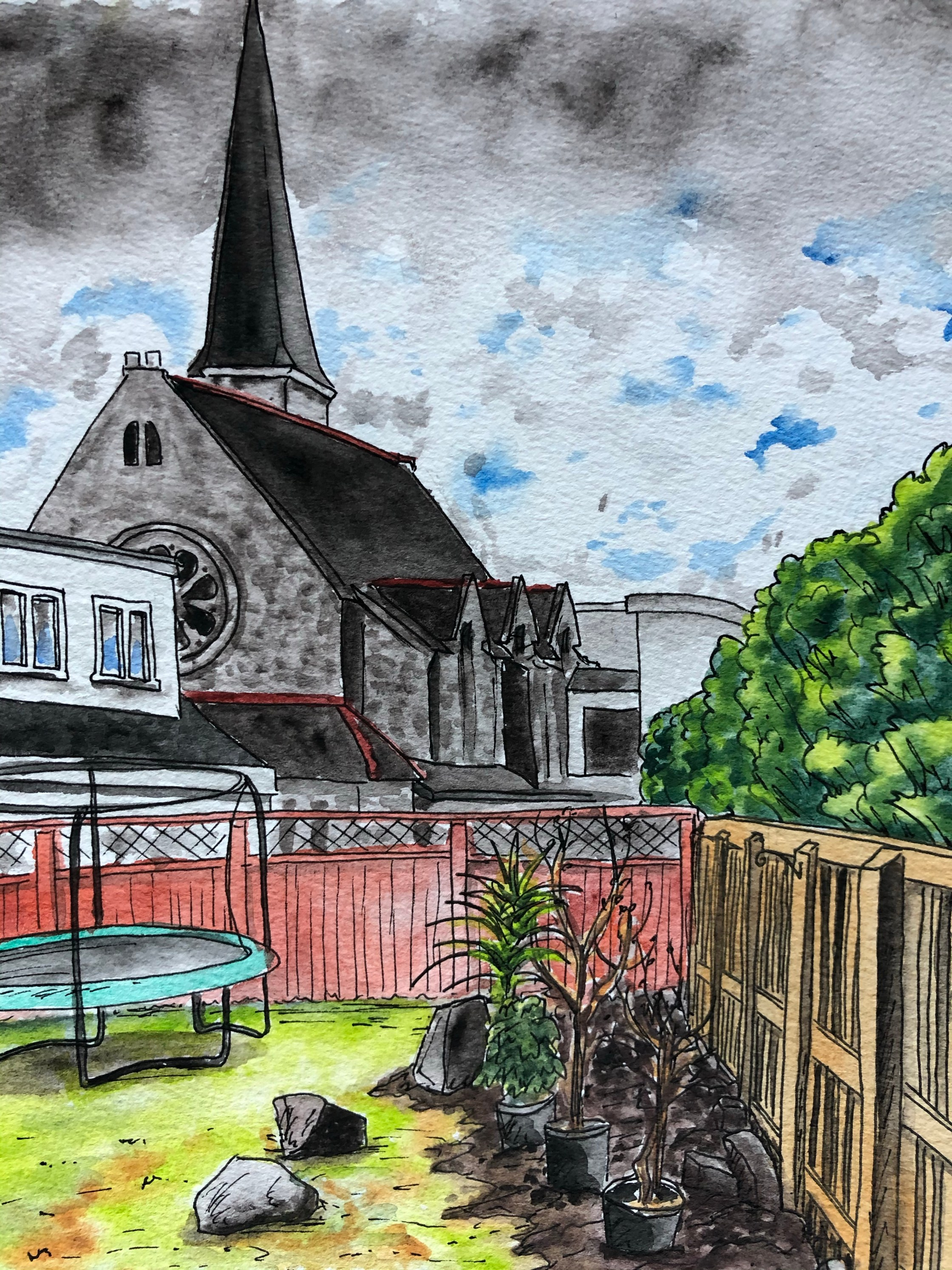Painting of the church behind the garden.