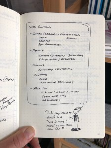 Outline for a presentation project in my notebook.