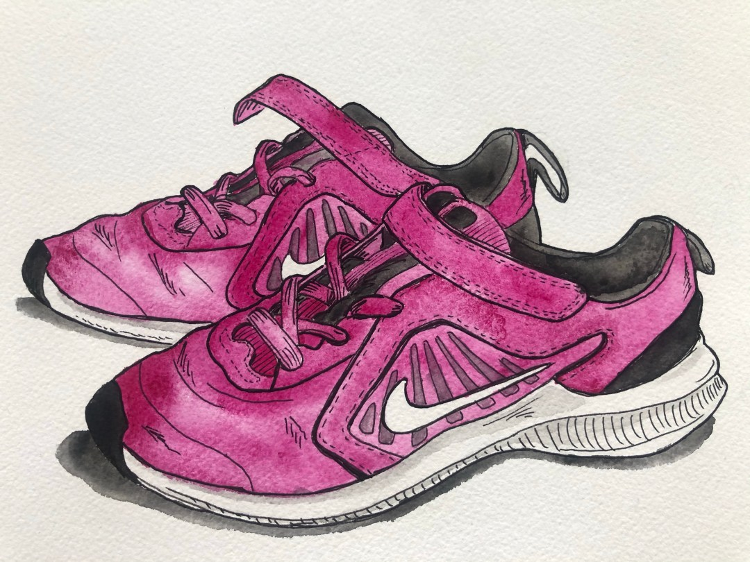 A color illustration of my daughter's running shoes.