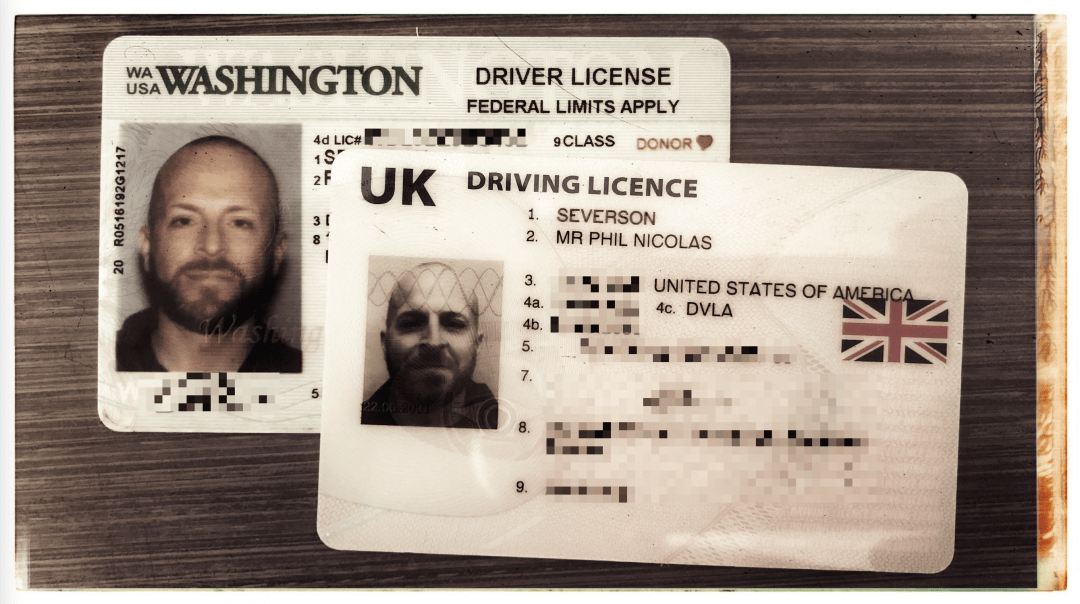 US driver's license and UK driver's license.