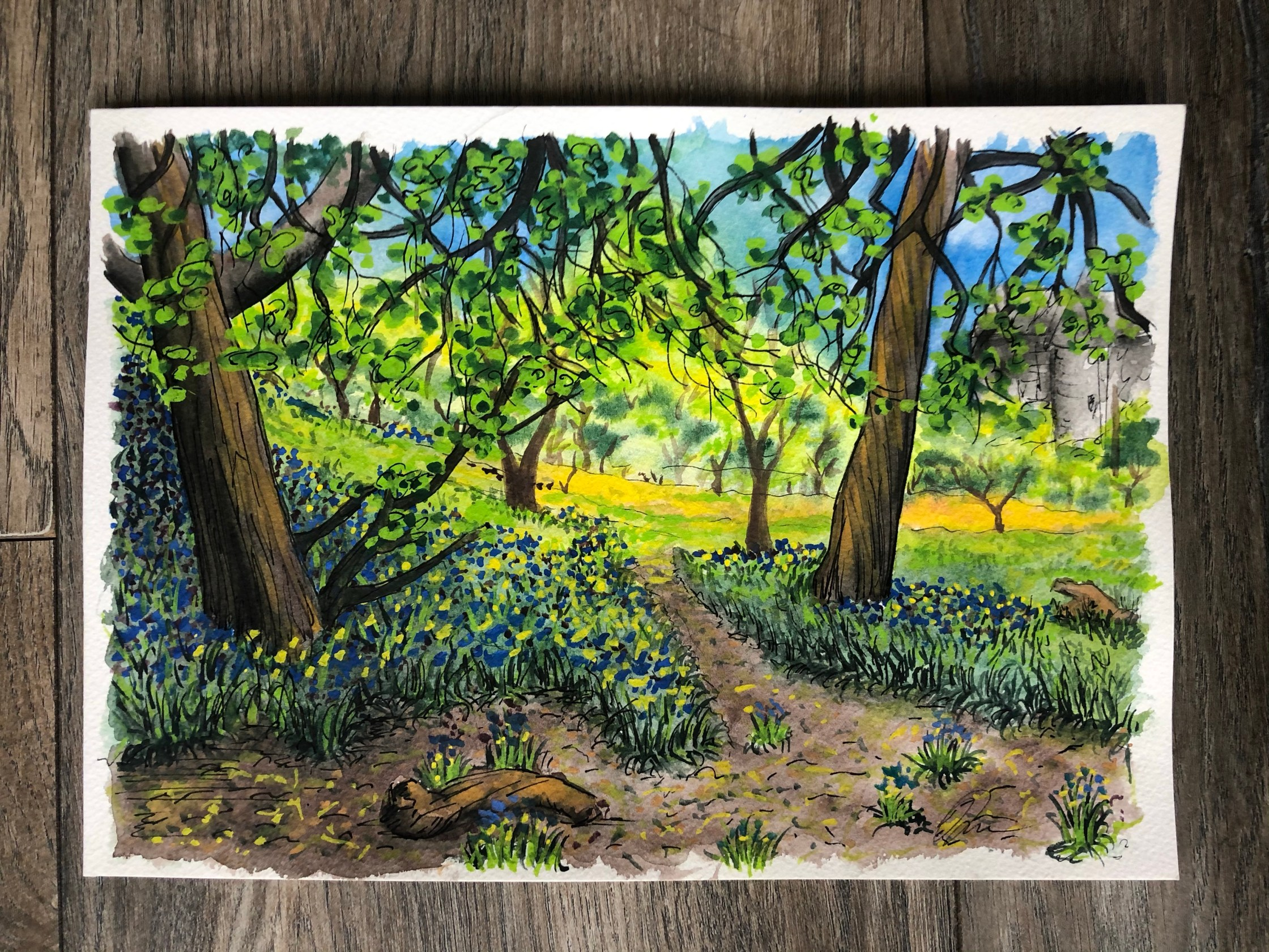Painting of the woods close to our house.