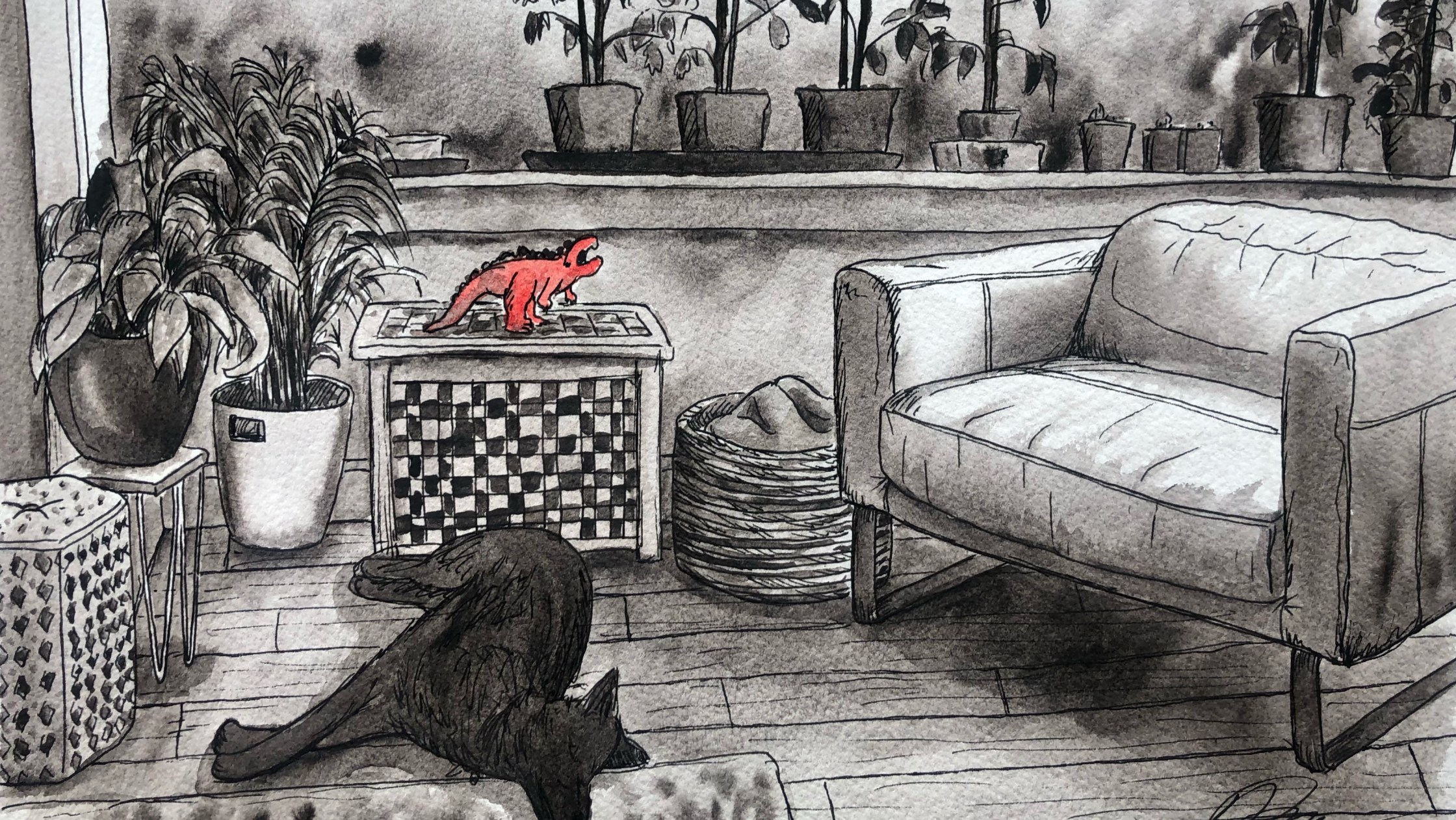 Illustration of living room with tomato plants and dog.