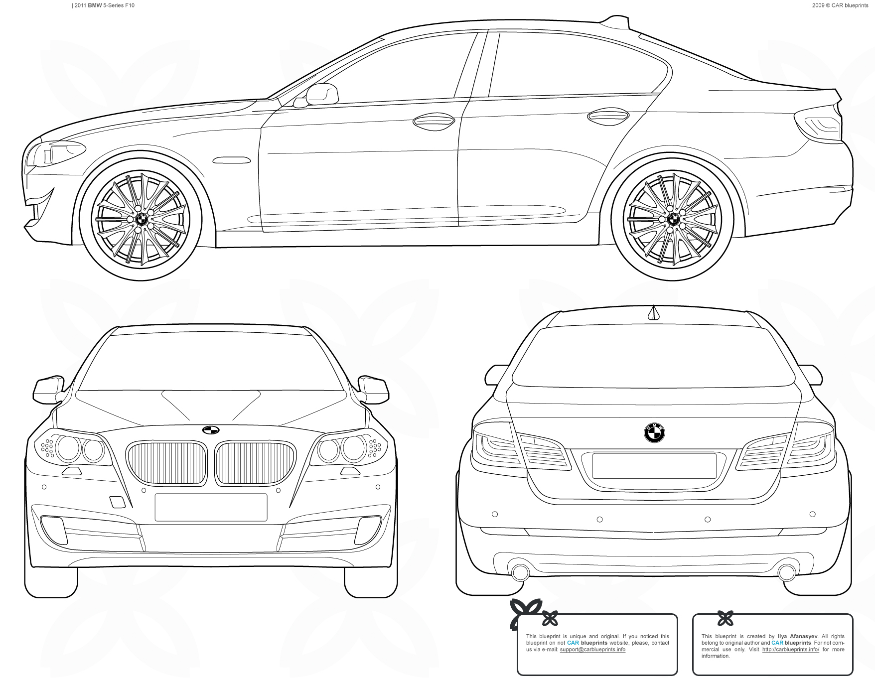 Bmw 5 Series F10 Sedan Blueprints Free