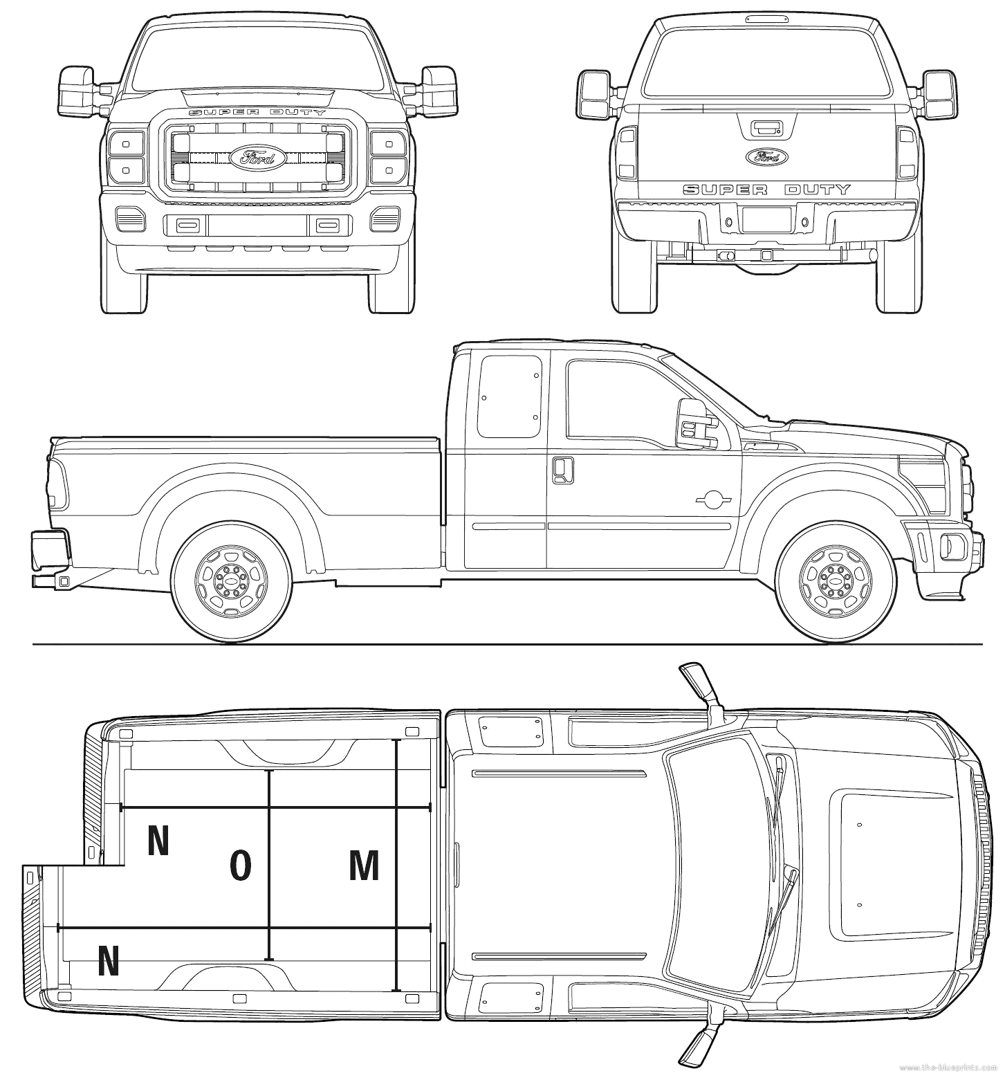 Ford Super Duty Extended Cab Pickup Truck Blueprints