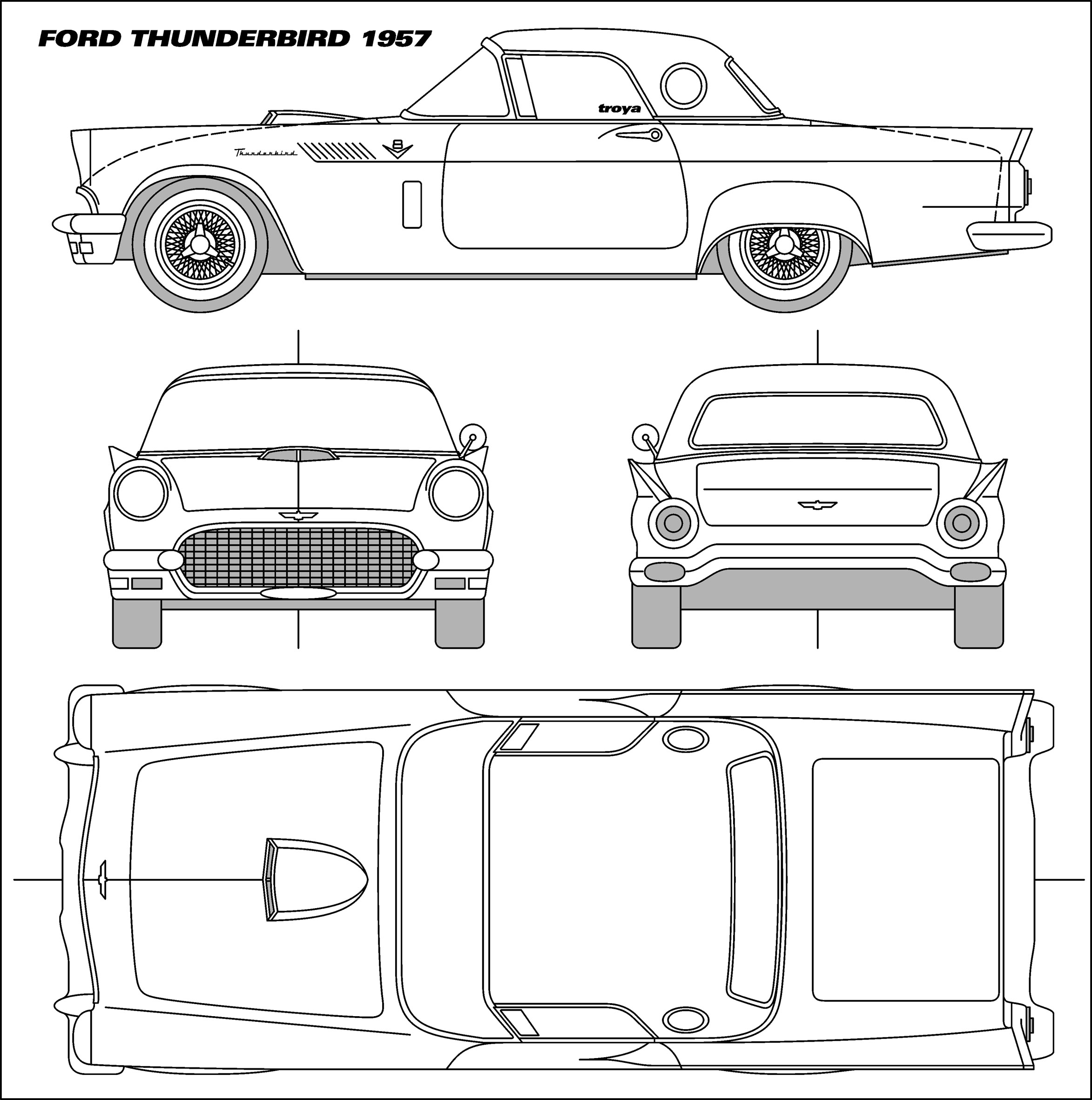 Ford Thunderbird Coupe V2 Blueprints Free