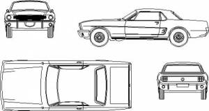 1965 Ford Mustang Hardtop Coupe blueprints free  Outlines